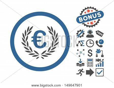 Euro Glory icon with bonus pictogram. Glyph illustration style is flat iconic bicolor symbols, cobalt and gray colors, white background.