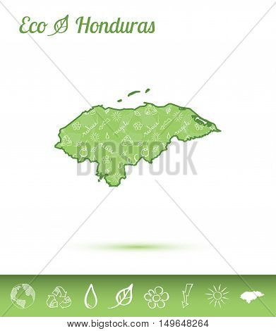 Honduras Eco Map Filled With Green Pattern. Green Counrty Map With Ecology Concept Design Elements.