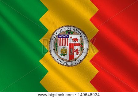 Flag of Los Angeles city in California state United States. 3D illustration