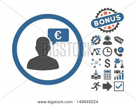 European Person Opinion icon with bonus pictogram. Glyph illustration style is flat iconic bicolor symbols, cobalt and gray colors, white background.