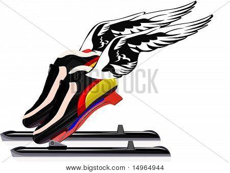 Skater skates on the wings
