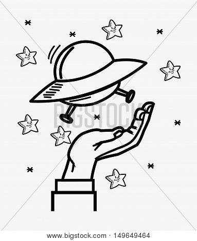 flat design space shuttle and hand with stars doodle drawing image vector illustration