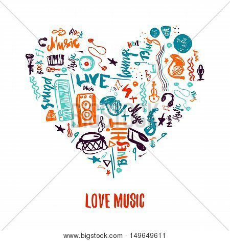 Love music colorful vector hand drawn doodles in shape of heart. Can be used for printable concert promotion with lettering and music items