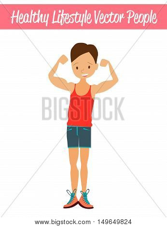 Flat Healthy Lifestyle Vector People Illustration with Fitness Guy Wearing Sportswear, Exercising and Showing Off His Muscles. Isolated Colorful Sport Illustration