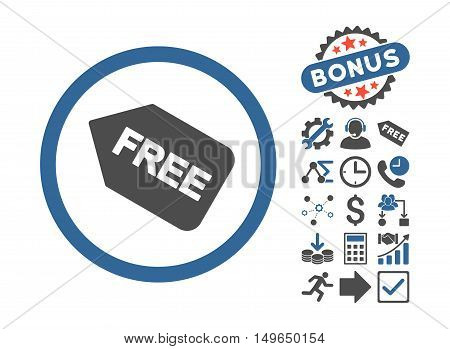 Free Sticker pictograph with bonus pictograph collection. Glyph illustration style is flat iconic bicolor symbols, cobalt and gray colors, white background.