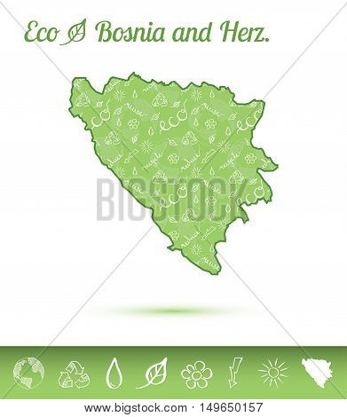 Bosnia And Herzegovina Eco Map Filled With Green Pattern. Green Counrty Map With Ecology Concept Des