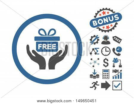Give Present pictograph with bonus pictograph collection. Glyph illustration style is flat iconic bicolor symbols, cobalt and gray colors, white background.