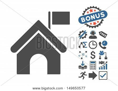 Government Building icon with bonus elements. Glyph illustration style is flat iconic bicolor symbols, cobalt and gray colors, white background.