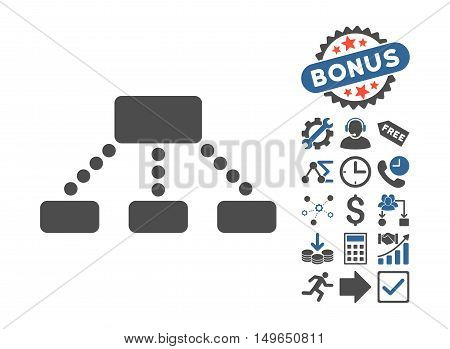 Hierarchy icon with bonus elements. Glyph illustration style is flat iconic bicolor symbols, cobalt and gray colors, white background.