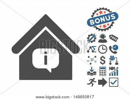 Hint Building icon with bonus clip art. Glyph illustration style is flat iconic bicolor symbols, cobalt and gray colors, white background.