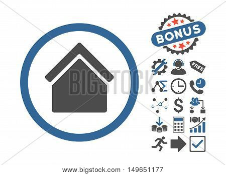 Home pictograph with bonus pictograph collection. Glyph illustration style is flat iconic bicolor symbols, cobalt and gray colors, white background.