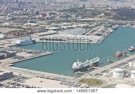 Top View Above Zona Franca - Port, The Industrial Port Of Barcelona
