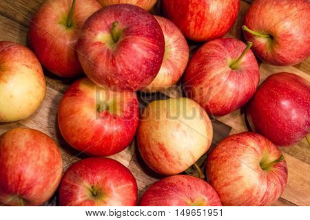 Fall apple red delicious healthy and put on a wooden table;healthy food.