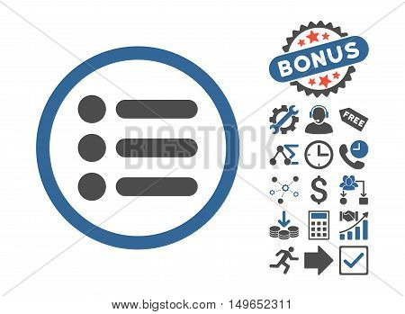 Items pictograph with bonus images. Glyph illustration style is flat iconic bicolor symbols, cobalt and gray colors, white background.