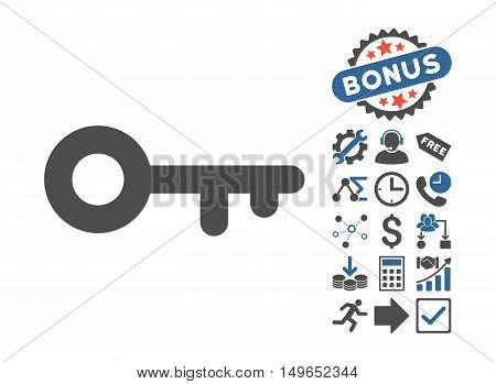 Key icon with bonus clip art. Glyph illustration style is flat iconic bicolor symbols, cobalt and gray colors, white background.