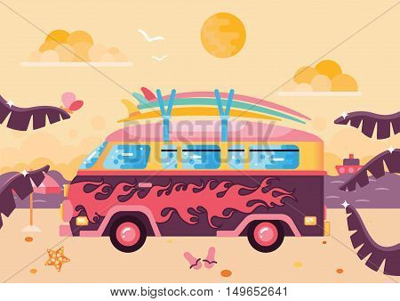 Surfing van flat illustration on the beach. The sand, palm leaves, clouds and sea or ocean.