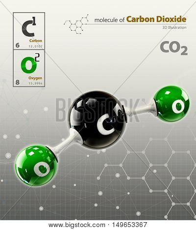 Illustration Of Carbon Dioxide Molecule Isolated Grey Background