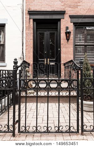 Brownstone Entrance With Gate