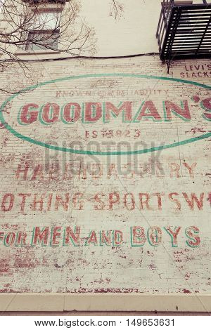 HOBOKEN NEW JERSEY - April 11 2016: What remains of the Goodman's sign on Washington Street
