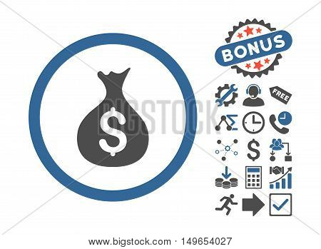 Money Sack icon with bonus design elements. Glyph illustration style is flat iconic bicolor symbols, cobalt and gray colors, white background.