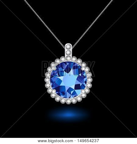 Pendant with sapphire on a silver chain. Black background. Vector illustration