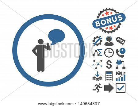 Person Idea pictograph with bonus pictograph collection. Glyph illustration style is flat iconic bicolor symbols, cobalt and gray colors, white background.