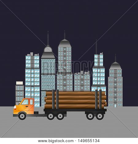truck with city backbround image vector illustration design
