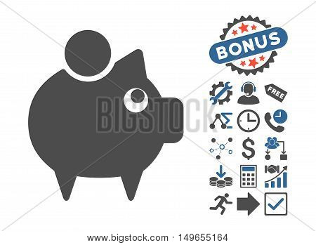 Piggy Bank pictograph with bonus pictograph collection. Glyph illustration style is flat iconic bicolor symbols, cobalt and gray colors, white background.