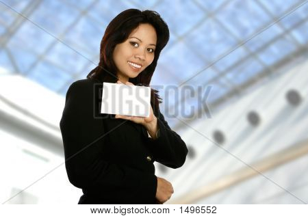 Businesswoman With White Card