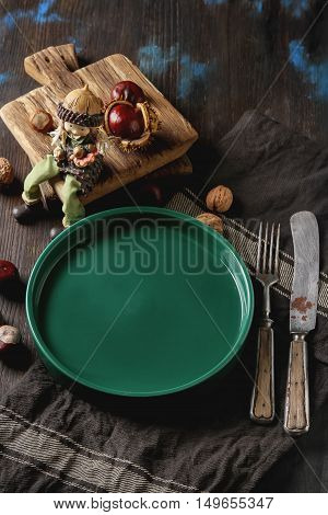Decorating For Halloween. Autumn Card. Green Plate, Chestnuts,