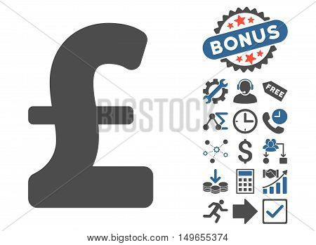 Pound Sterling icon with bonus pictograph collection. Glyph illustration style is flat iconic bicolor symbols, cobalt and gray colors, white background.