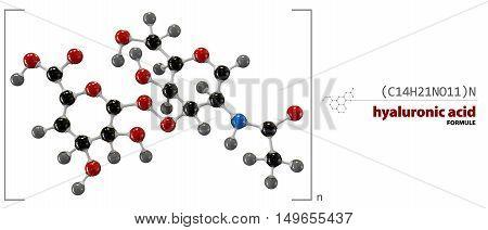 3d Illustration of Hyaluronic acid chemical formula