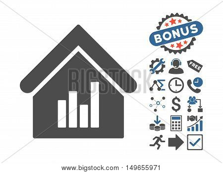 Realty Bar Chart pictograph with bonus pictures. Glyph illustration style is flat iconic bicolor symbols, cobalt and gray colors, white background.