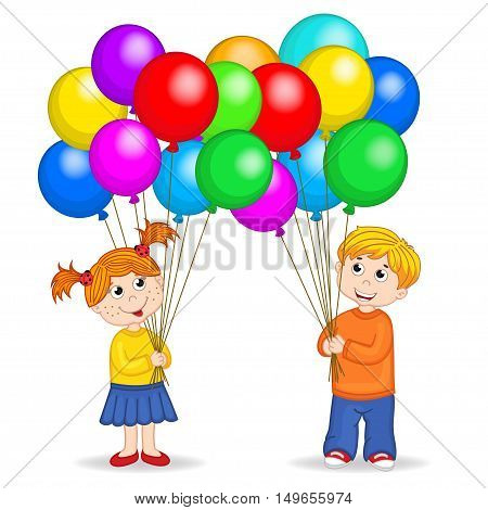 boy and girl holding balloons - vector illustration, eps