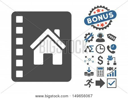 Realty Catalog icon with bonus pictogram. Glyph illustration style is flat iconic bicolor symbols, cobalt and gray colors, white background.
