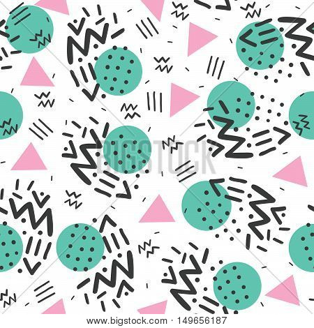 Memphis style, geometric pattern, abstract seamless pattern, retro 80s style. Vector illustration.