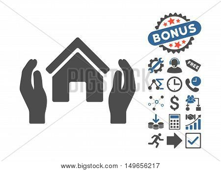 Realty Insurance Hands icon with bonus pictograph collection. Glyph illustration style is flat iconic bicolor symbols, cobalt and gray colors, white background.