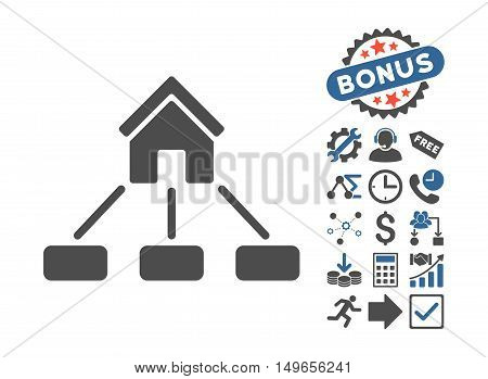 Realty Links pictograph with bonus clip art. Glyph illustration style is flat iconic bicolor symbols, cobalt and gray colors, white background.