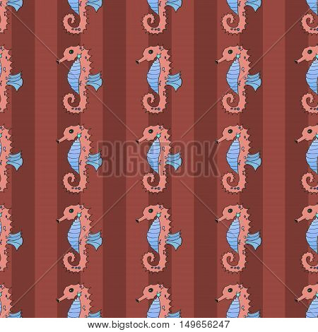 Seahorse seamless vector illustration nature ocean life