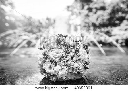 Wedding Bouquet Of Nice Flowers Outdoor In The Park