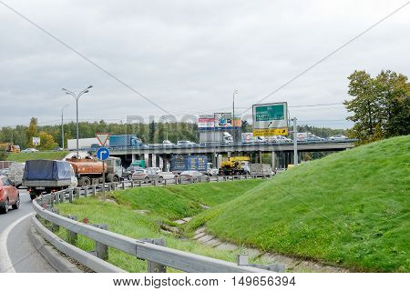 MOSCOW RUSSIA - September 27 2016: View traffic of MKAD. MKAD - Moscow Ring Road is a ring road encircling the parts of the City of Moscow the capital of Russi