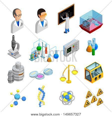 Science isometric icons set with experiment symbols on blue background isolated vector illustration