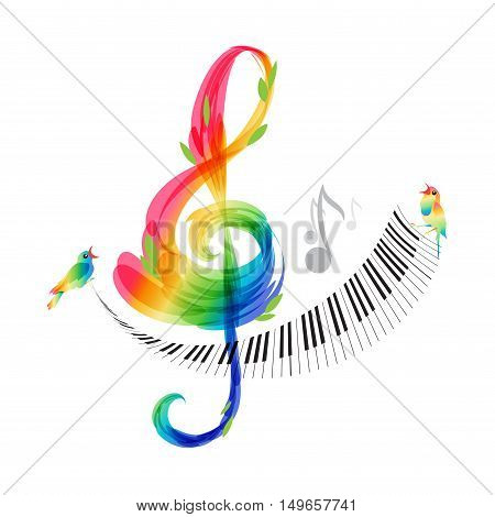 Music design treble clef and piano keyboard on white background vector illustration