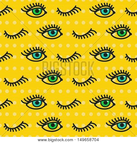 Abstract eye seamless pattern. Hand drawn print of open and close eyes. Vector Illustration