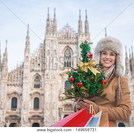 Traveller Woman With Christmas Tree And Shopping Bags In Milan