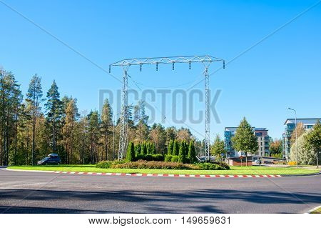 IMATRA, FINLAND - SEPTEMBER 13, 2016: Transmission Tower Monument at the entrance to the city not far from The Hydroelectric Power Station