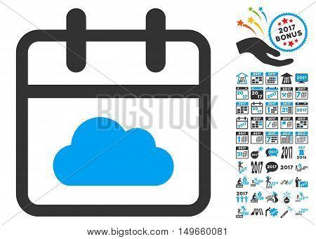 Cloudy Day pictogram with bonus 2017 year design elements. Vector illustration style is flat iconic symbols, white background.
