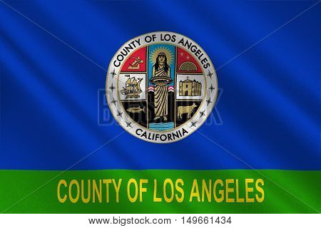 Flag of Los Angeles County in California state United States. 3D illustration