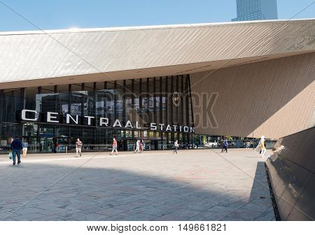 ROTTERDAM, NETHERLANDS - 15 SEPT. 2016: View on Rotterdam Central Station, an important transport hub in the region with more than 100.000 passengers a day. The building opened in 2014.