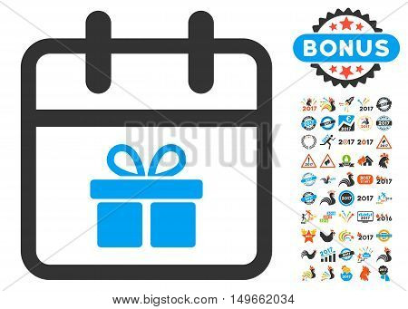 Gift Day pictograph with bonus 2017 year pictograph collection. Glyph illustration style is flat iconic symbols, white background.